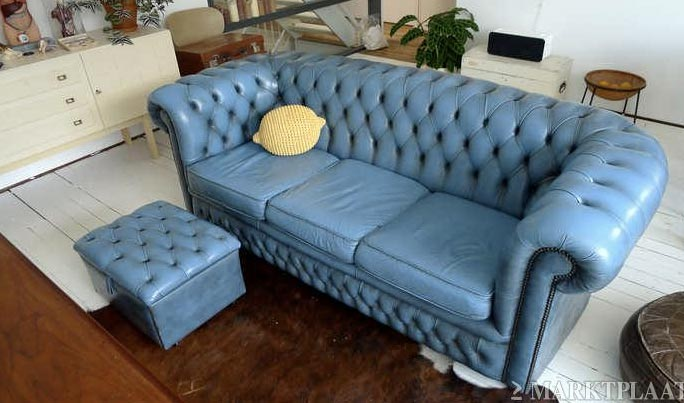 Leren Chesterfield Bank.Chesterfield Bank Blauw